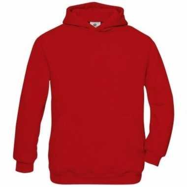 Rood katoenen vest met capuchon voor meisjes