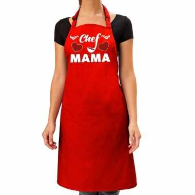 Rood keukenschort chef mama voor dames