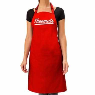 Rood keukenschort theemuts voor dames