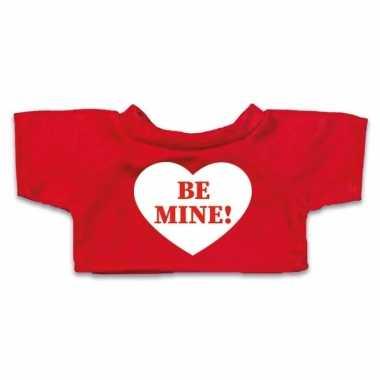 Rood knuffel shirt hartje be mine maat m voor clothies knuffel 13 x 9