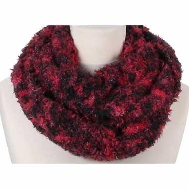 Rood melee fleece ronde col sjaal voor volwassenen