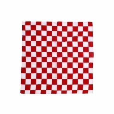 Rood met wit geblokte feest bandana