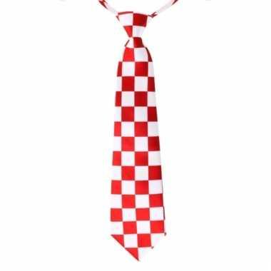 Rood met wit geblokte feest stropdassen