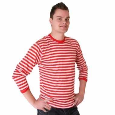Rood met wit gestreepte dorus trui voor heren