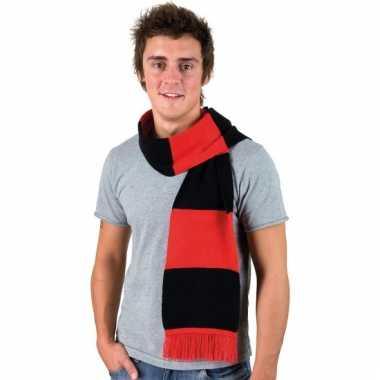 Rood met zwart gestreepte supporters sjaal