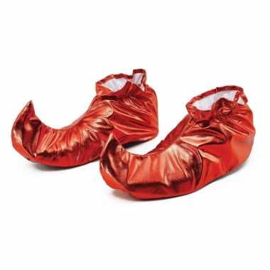 Rood metallic kerstelf schoenen voor volwassenen