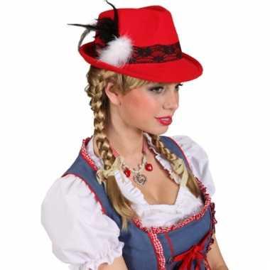 Rood oktoberfest dames hoedje