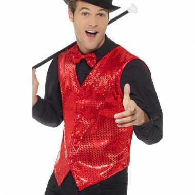 Rood pailletten vestje voor heren