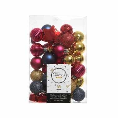 Rood/roze/blauwe kerstboomballen set 33 stuks