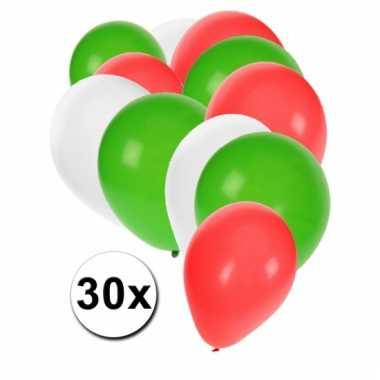Rood wit groene ballonnen 30 stuks