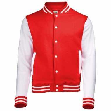 Rood wit jacket met drukknopen
