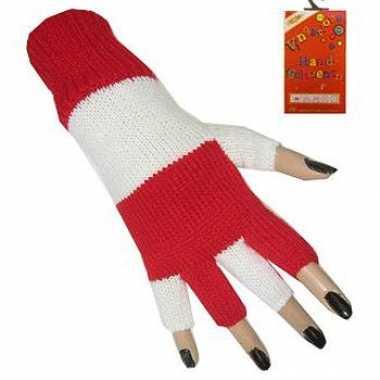 Rood wit vingerloze handschoen
