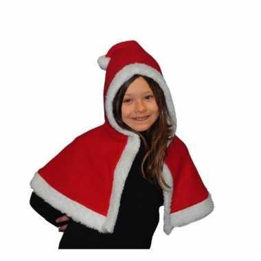 Rood/witte kerst cape voor kinderen
