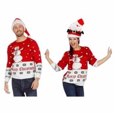 Rood/witte kerst sweater met sneeuwpop voor volwassenen