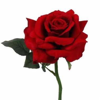 Roos deluxe rood 31 cm kunstbloem