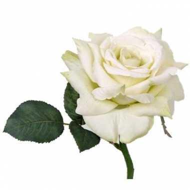 Roos deluxe wit 31 cm kunstbloem