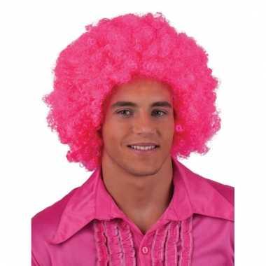 Roze afro pruik