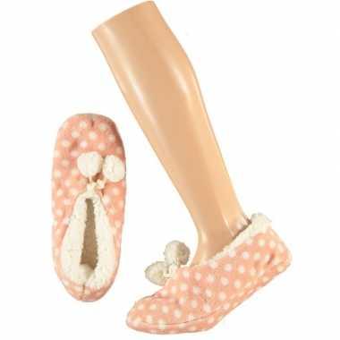 Roze ballerina meisjes pantoffels/sloffen met stippenprint maat 34-36