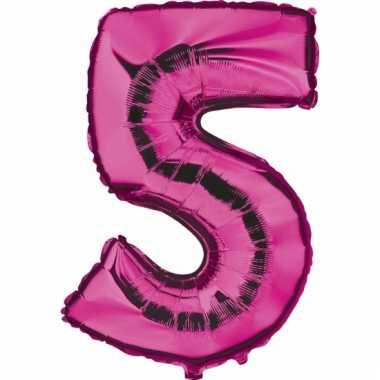 Roze ballon cijfer 5