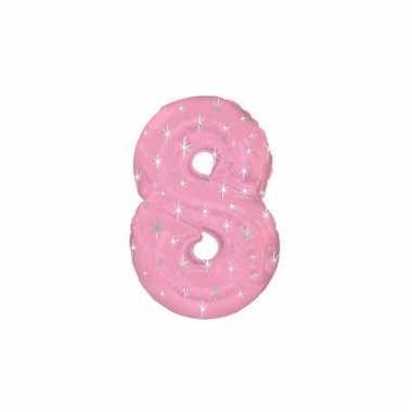 Roze cijfer ballon 8 met helium