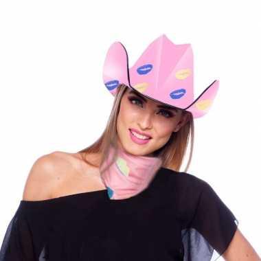 Roze cowboyhoed karton met lippen/kusjes voor dames