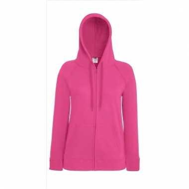 Roze dames capuchon sweater vest