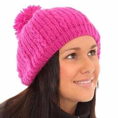 Roze dames muts baret met pompon