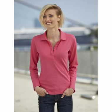 Roze dames poloshirt met lange mouw
