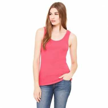Roze dames rib singlet voor dames