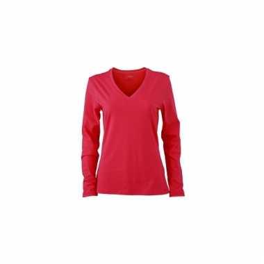 Roze dames stretch shirts lange mouw