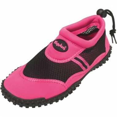 Roze dames surfschoenen met trekkoord