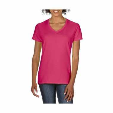 Roze dames t-shirts met v-hals