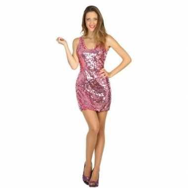Roze disco glitter jurkje voor dames