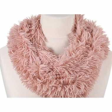 Roze fleece ronde col sjaal 80 cm voor volwassenen
