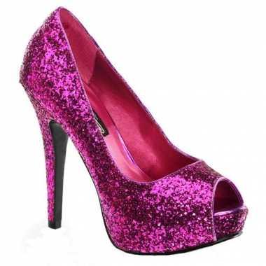 Roze glitter pumps met open teen