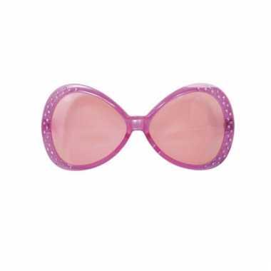 Roze glitter zonnebril