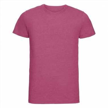 Roze heren t-shirts met ronde hals