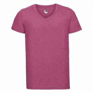 Roze heren t-shirts met v-hals