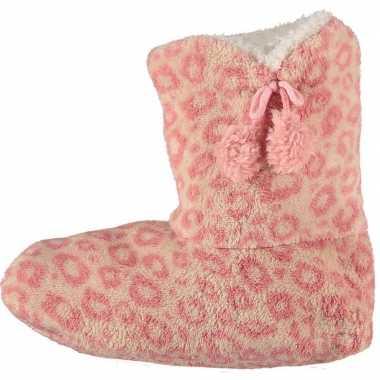 Roze hoge dames pantoffels/sloffen met luipaardprint