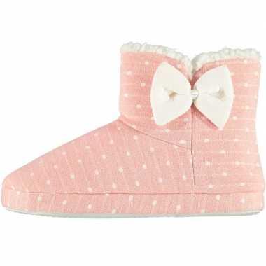 Roze hoge dames pantoffels/sloffen met stippenprint maat 41-42