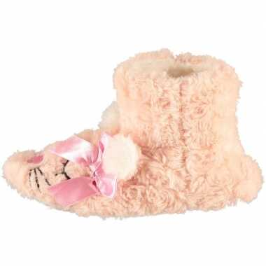 Roze hoge meisjes pantoffels/sloffen muisje