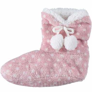 Roze hoge sloffen/pantoffels stippen voor meisjes maat 34-36