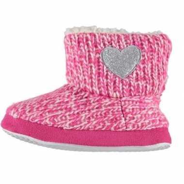 Roze hoge sloffen/pantoffels zilveren hart voor meisjes maat 27-28