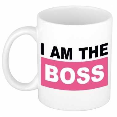 Roze i am the boss mok / beker voor heren 300 ml