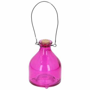 Roze insectenval/insectenvanger 12 cm van glas