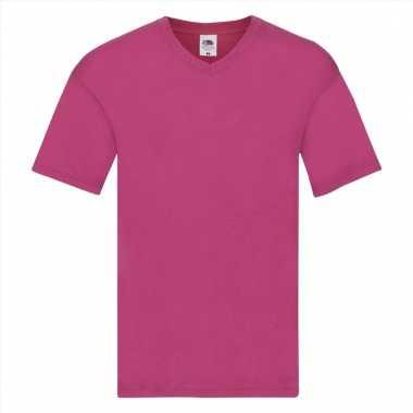 Roze katoenen heren t-shirts met v-hals