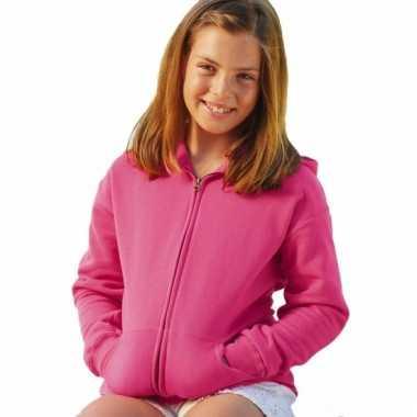Roze katoenen vest met rits voor meisjes