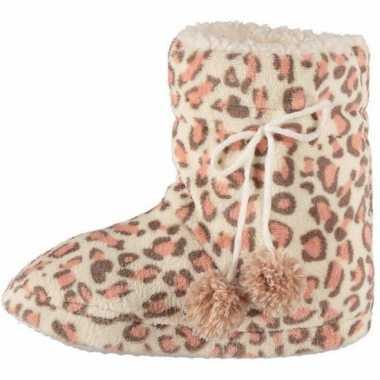 Roze luipaard print sloffen voor dames