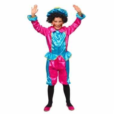 Roze met turquoise pietenpak voor kids