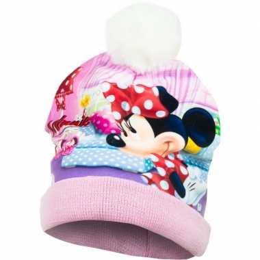 Roze minnie mouse wintermuts voor meisjes